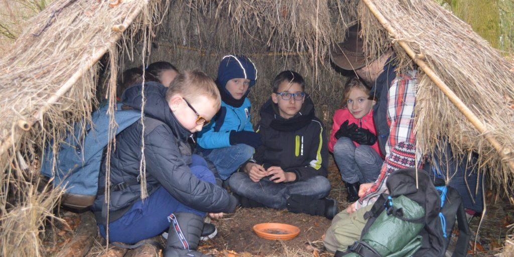 in hut